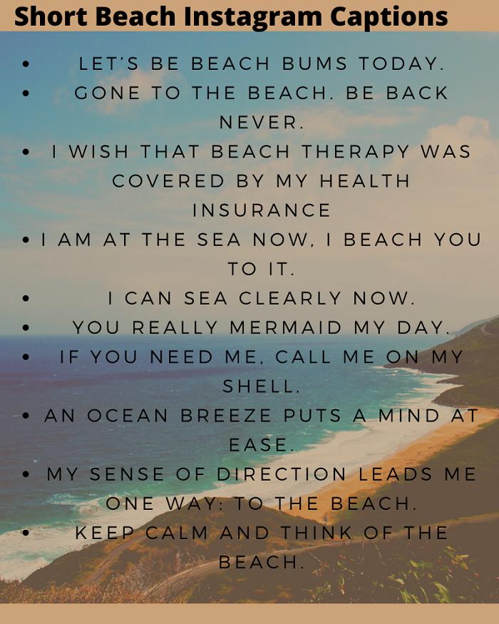 91 New Short Beach Captions For Instagram Boys Girls